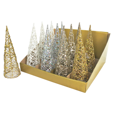 GLITTER WIRE CONE TREE 20cm 4asst Uncle Bills XD0117