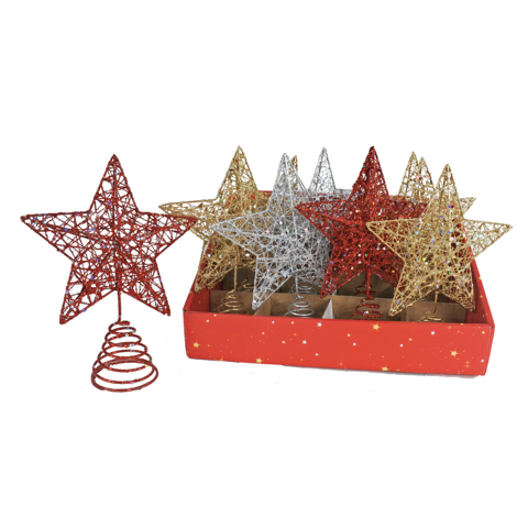 GLITTER STAR DECO 20cm 4asst Uncle Bills XD0119
