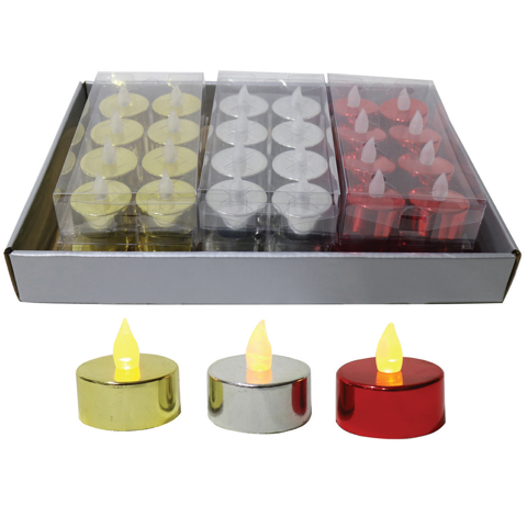 LED TEALIGHT CANDLE 8pc METALLIC SRT Uncle Bills XD0300