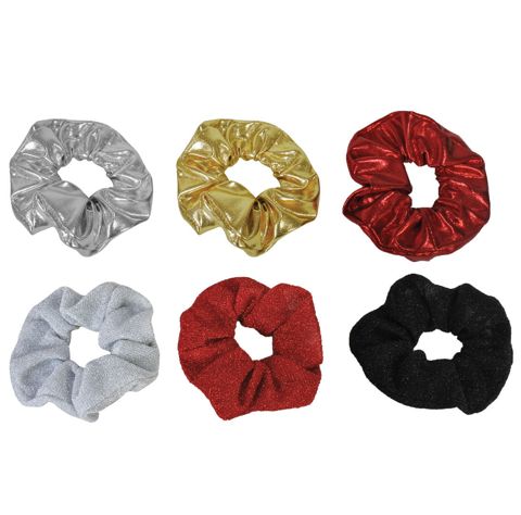 HAIR SCRUNCHIE GLITTER METALLIC 3pk 2asst Uncle Bills XC0064