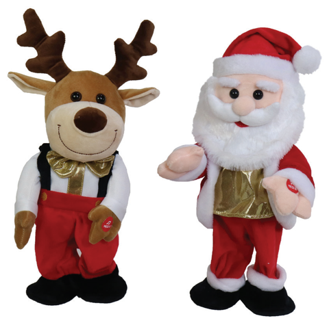 SING N DANCE PLUSH SANTA/REINDEER 33cm Uncle Bills XN0030