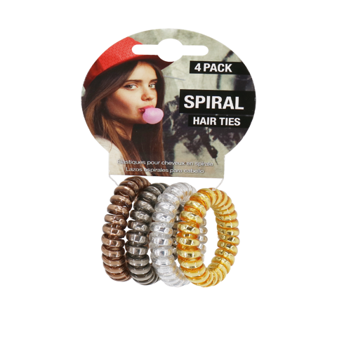 SPIRAL HAIR TIES  METALLIC 5.5
