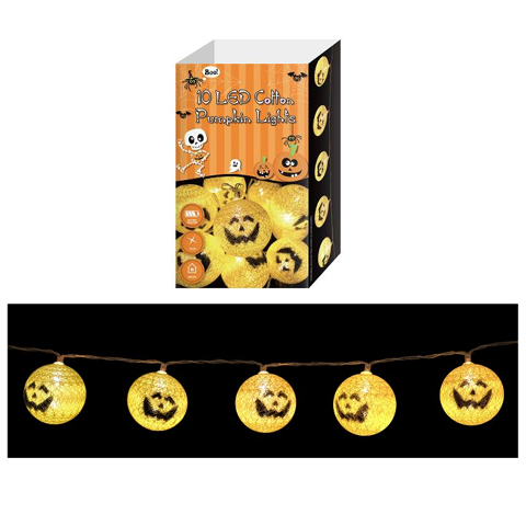 String Light 10 Leds - Cotton Pumpkiins