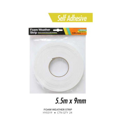 FOAM WEATHER STRIP 5.5M