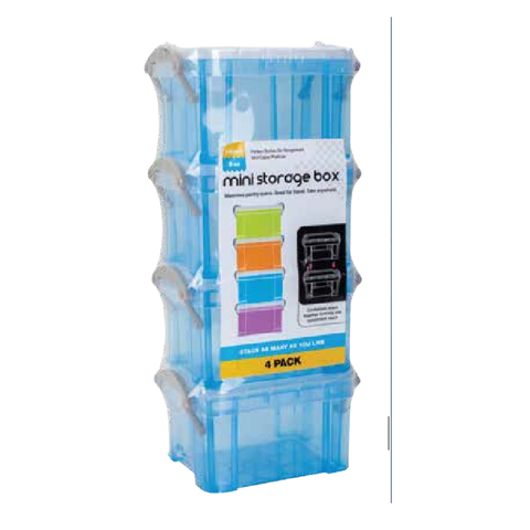 MINI STORAGE BOX 4PK 4 COL ASS