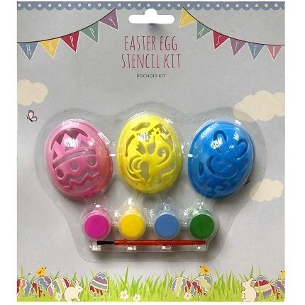 EGG STENCILS 3 Pcs WITH PAINTS