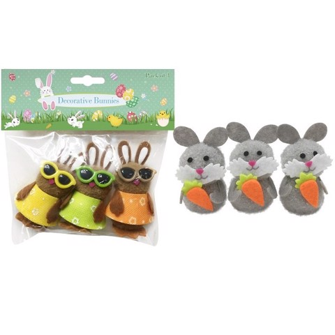 DECORATIVE BUNNIES 3PK   2 ASSORTED