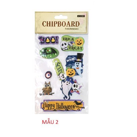 4 ASSORTED CHIP BOARD 3D STICKERS