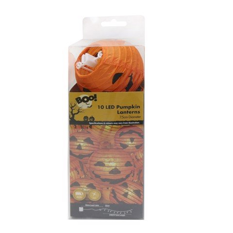 10 LED PUMPKIN MINI LANTERNS 2.25m