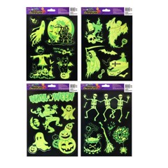 4 ASSORTED GLOW IN DARK WINDOW STICKERS
