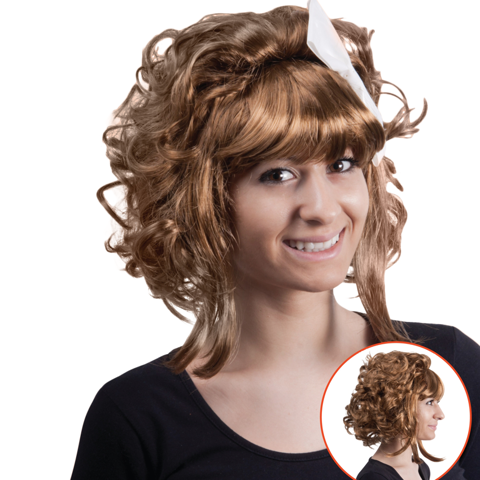 Wig-Short-Curly-Hair-W/Ribbon