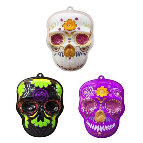 DAY OF THE DEAD HANGING DEOCR PP 3 ASSORTED COLOURS