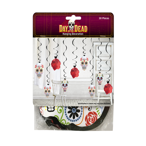 DAY OF THE DEAD HANGING DECORATION 30PCS