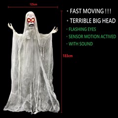 ANIMATED STANDING GHOST 183cm - EXCAGGERATIVE BIG HEAD / FAST MOVING !!!