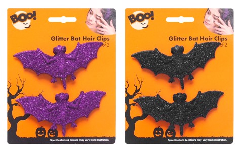GLITTER BAT HAIR CLIPS 2pk 2 ASSORTED