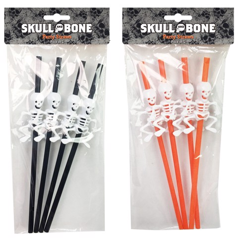PARTY SKELETON STRAWS 4PK ASSORTED