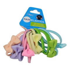 Hair Elastic Plain & Bow 18Pk