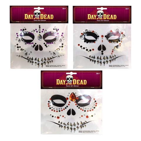 DAY OF THE DEAD FACE ART 3 ASSORTED