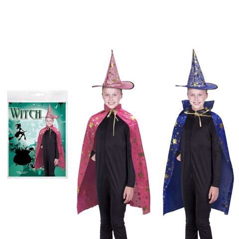 WITCH DRESS UP SET - HAT & CAPE 2 COLOUR ASSORTED