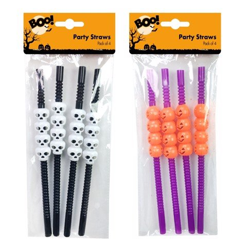PARTY STRAWS 4PK 2 ASSORTED
