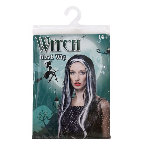 BLACK WITCH WIG WHITE STREAKS