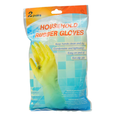 Gloves Rubber Yellow 2 Pairs