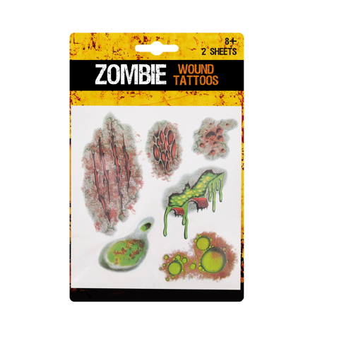 ZOMBIE WOUND TATTOO 2 SHEETS