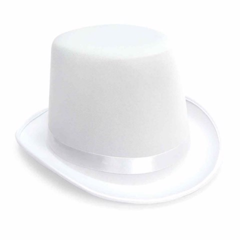 Dress Up Fabric Top Hat White