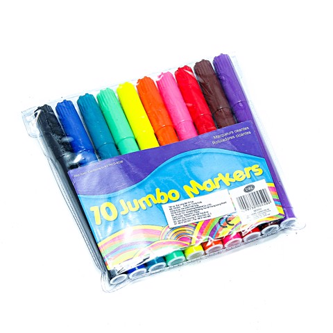 Coloured Markers Jumbo 10Pk