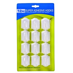 Hooks-Self-Stick-4Cm-Wht-12Pk