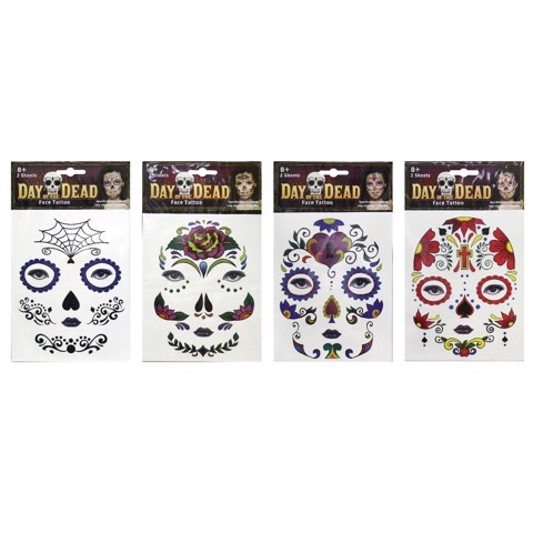 DAY OF THE DEAD TATTOO 2 SHEETS - LADIES