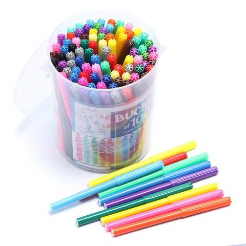 Coloured-Markers-In-Bucket-100Pk