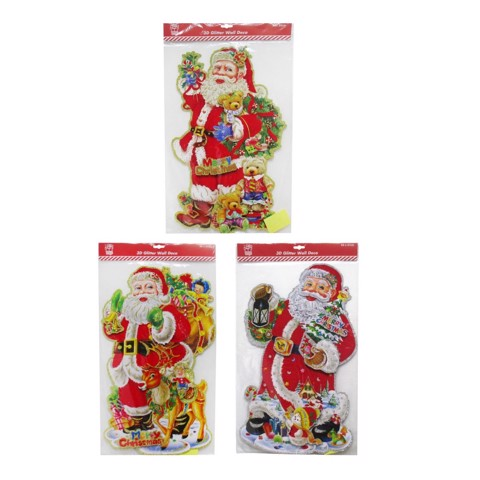 PLAQUE 3D GLITTER SANTA 50-53cm 3asst Uncle Bills XA5208