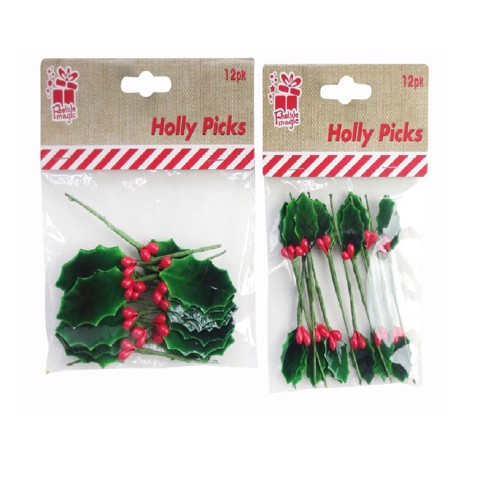 HOLLY & BERRY PICKS 12pc 2asst Uncle Bills XA7815