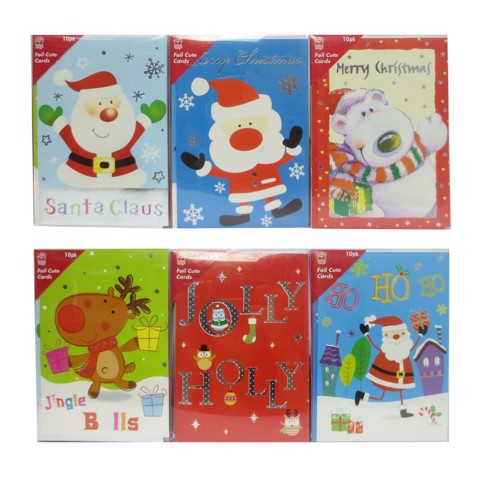 Xmas Cards Foil 10pc Cute Uncle Bills XA8552