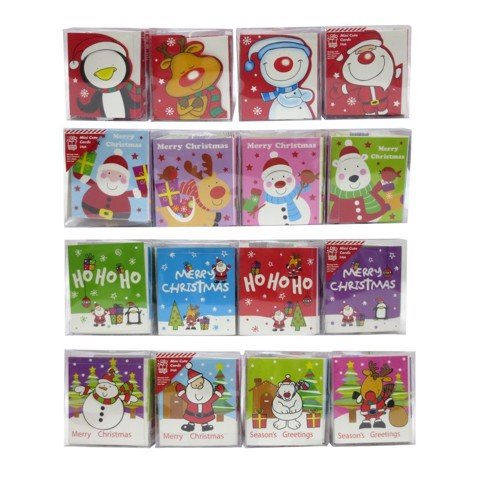 Xmas Mini SQ Card 24pc 4asst Uncle Bills XA8553