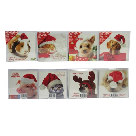 Xmas Pet Cards 10Pc SQ Glitter 4asst Uncle Bills XA8555