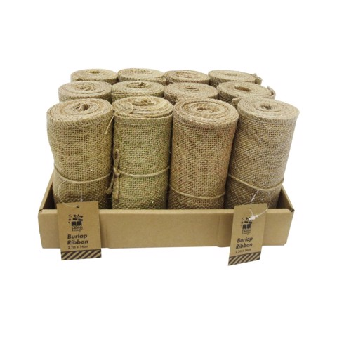 Jute Ribbon Glitter Dust 14cm x 2.7m Uncle Bills XA9796