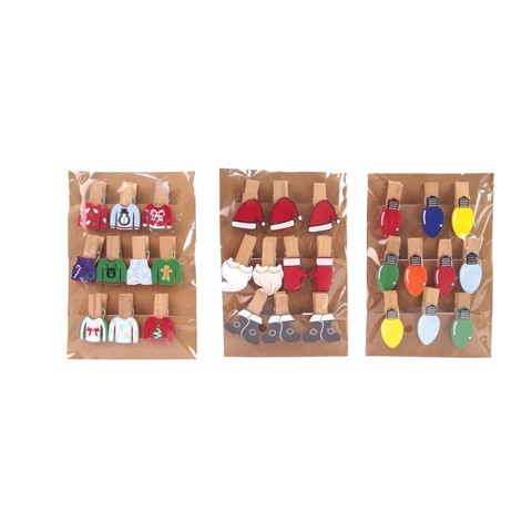 XMAS PEGS WITH DECO PRINTING 10pc 3asst Uncle Bills XB1095