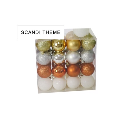 BAUBLES PACK SCANDI THEME 32pc 50mm  Uncle Bills XB2808
