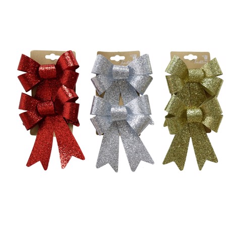 GLITTER DLX BOW MED 2pc 4asst Uncle Bills XB2835