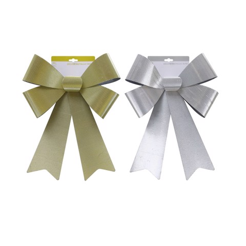 DELUXE STRIPES BOW GOLD/SILVER 44x30cm 2asst Uncle Bills XB2844