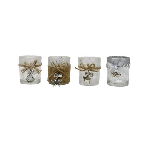 CANDLE HOLDER GLITTER GLASS W/TIE Uncle Bills XB3132
