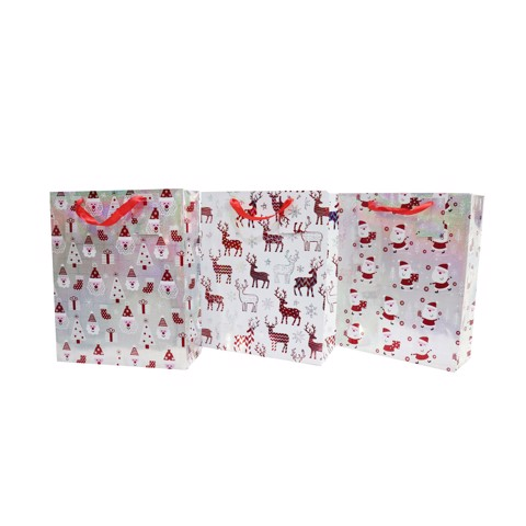 SANTA/REINDEER LASER GIFT BAG MED 3asst Uncle Bills XB3198