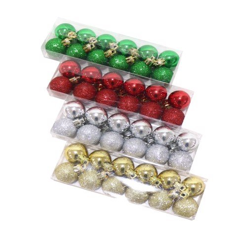BAUBLES SHINY/ GLITT 30mm 12pc 3asst Uncle Bills XB4116