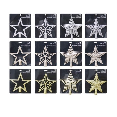 TREE TOPPER STAR 20cm 12asst Uncle Bills XB4131