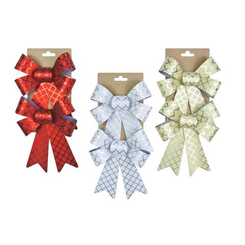 GRID BOW METALLIC 14x18cm 2pc 3asst Uncle Bills XB4133