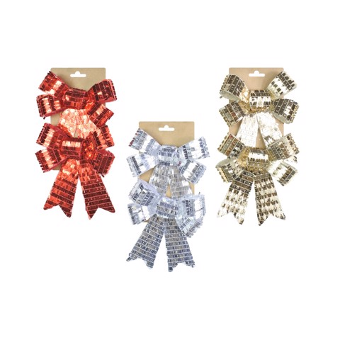 SEQUINS BOW 14x18cm 2 PACK 3asst Uncle Bills XB4137