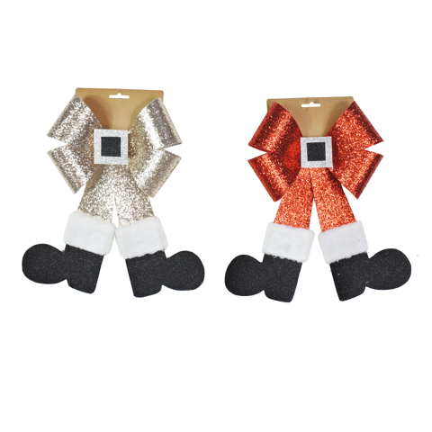 SANTA LEGS BOW GLITTER 23x35cm 2asst Uncle Bills XB4142