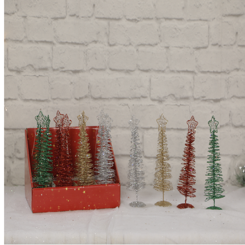 WIRE TREE SPIRAL GLITTER 20cm Uncle Bills XB4219